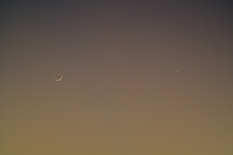 New moon and Venus seen in the sky together near sunset.