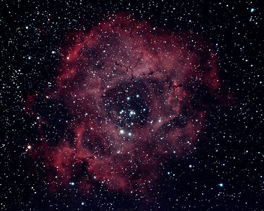 The Rosette Nebula, a vast cloud of gas and dust some 5200 light years away. The hole in the middle measures some 30 light years across!! Taken over Pembrokeshire in March 2013.