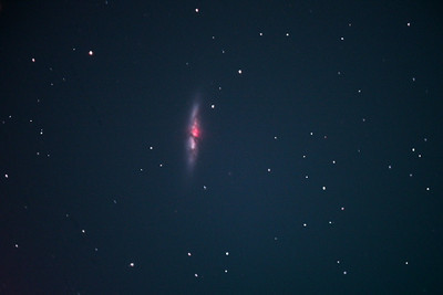 "Messier 82 - Close to Messier 81, M82 is also known as ""The Cigar Galaxy"" because of the shape that we see. Like M81, it is about 12 million light years away."