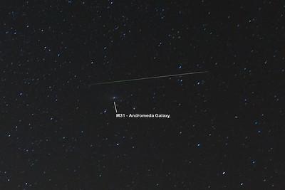 Perseid Meteor passing M31, Andromeeda Galaxy