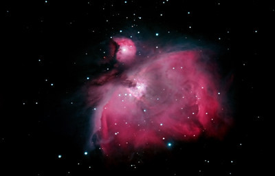 My latest image of the Orion nebula - taken with a modified Canon 450D. Compare this with the next image, also of the same nebula. The modified camera allows the sensor to detect a wider spectrum of light than the unmodified camera used for the other image. It is a beautiful nebula found below the belt of Orion.