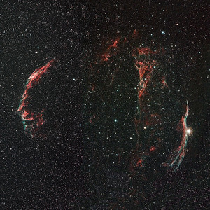 The Veil nebula, an image taken over 3 nights to capture the comploete region. As published by the BBC Sky at Night magazine