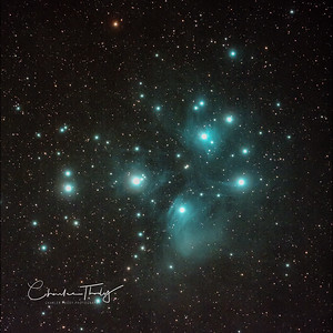 Messier 45 The Pleiades Star Cluster.