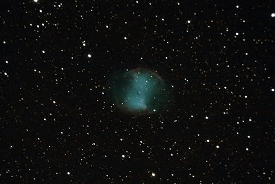 "Messier 27 ""The Dumbell Nebula"". Located some 1360 light years from earth. Taken with a DSLR mounted on a telescope, 16 images of 1 minute exposure, ISO 1600, then processed and stacked together."