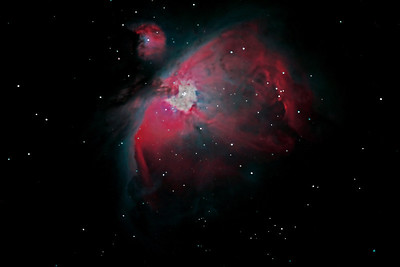 "The Orion Nebula, Messier 42 - my best photo of the nebula to date.   Some 1500 light years away from the earth, the Orion Nebula is a place where stars are formed. Sometimes (on a dark and clear night) you can just make it out as a ""grey smudge"" under the belt of Orion with the naked eye."