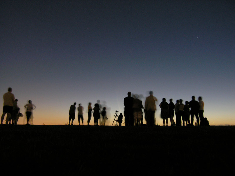The crowd on the top of the hill in Sydney Park