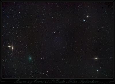 Comet 45 P/Honda Mrkos Pajdusakova meets Messier 3