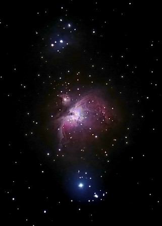 M42 - Orion Nebula, 11 January 2007. <br /> Unguided, Prime focus ED80 Refractor, Nikon D200. <br /> ISO 800, 30 x 30 sec exposures, 15 x 10 sec exposures, 2 dark frames.