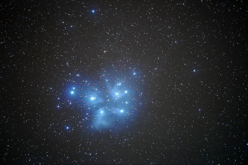 M45 The Pleiades, 5 January 2008 <br /> Unguided, Nikon D300 Nikkor 300 f2.8VR<br /> ISO 800, 54 x 120 sec exposure
