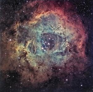 Rosette Nebula - NCG 2239.   Instrument: Takahashi 106 Fsq f/5 on Gemini G41+ ccd Kai4021 Exposures: Ha 8x30' (1x1), OIII 8x5' (2x2), SII 7x8.5' (2x2), Astronomics filters (Ha 13 nm).  Date: march 2008