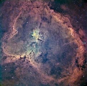 Heart Nebula - IC 1805  Instrument: Takakashi 106 Fsq f/5 on Gemini G42 + ccd Kai4021  Exposures: Ha 12x30' (1x1), OIII 8x10' (2x2), SII 10x10' (2x2), Astrodon filters (Ha 5 nm).  Date: october 2008