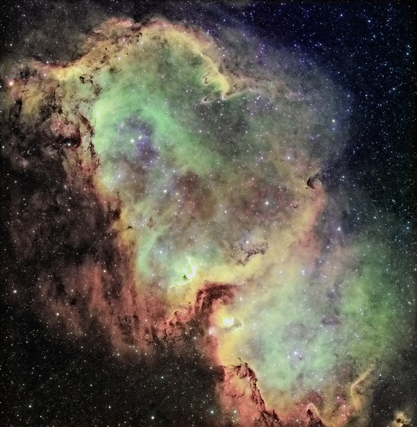 Baby (or Soul) Nebula - IC 1848<br /> <br /> Instrument: Takakashi 106 Fsq f/5 on Gemini G42 + ccd Kai4021 <br /> Exposures: Ha 11x30' (1x1), OIII 8x10' (2x2), SII 10x10' (2x2), Astrodon filters (Ha 5 nm). <br /> Date: september 2009
