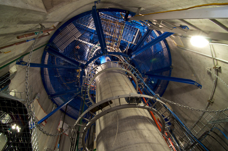 Inside of telescope chamber with cabling.  The cabling is allowed to rotate with the telescope ensuring it does not get tangled up as it rotates around.