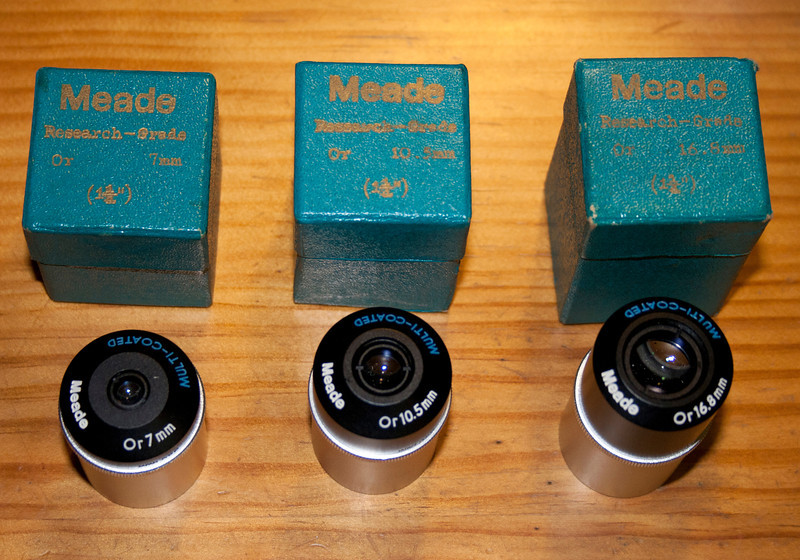 7.0mm, 10.5mm, 16.8mm Meade Research Grade Orthoscopic Eyepieces