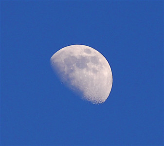 Moon during the day in East Tawas, Michigan, USA.