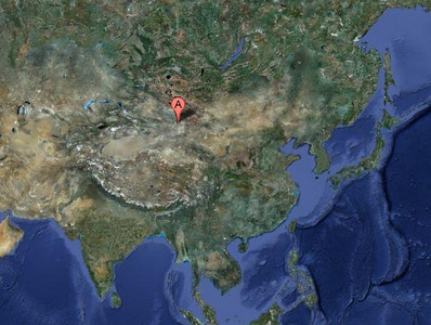 Location of our viewing site 'Eclipse City', set up in the middle of the Gobi Desert by Chinese authorities.