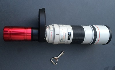 ATIK 490 on Canon 300mm f/4 via Orion filter wheel