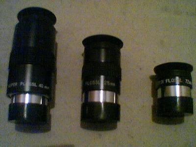 Super-Plossl-40mm (45°), Plossl 25mm (52°), Super-Plossl-7.5mm (52°)
