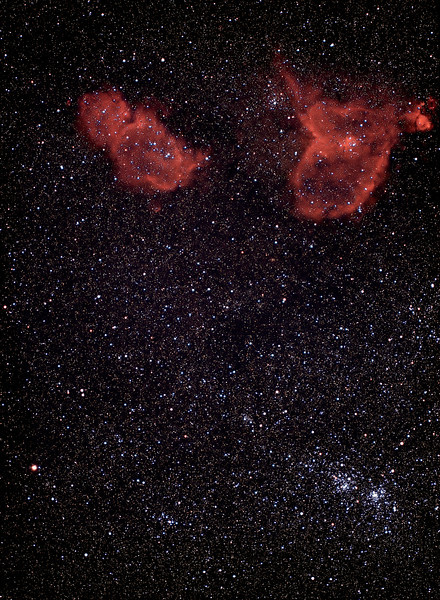 Double Open Cluster & IC1805 - IC1848<br /> <br /> Borg 100 f/4 + Mamiya + Kodak Ektachrome E200