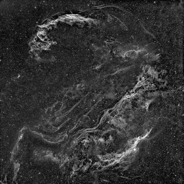 Veil Nebula Mosaic<br /> <br /> Mosaic: 4 panel<br /> Instrument: Takahashi 106 Fsq f/5 on Gemini G42 + ccd KAI 4021 + H-alpha filter 5nm<br /> Exposures: Ha 10x30' (1x1) each panel <br /> Date: august 2010