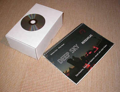Das Telrad verpackt und der DS-Atlas (CD zum Größenvergleich)