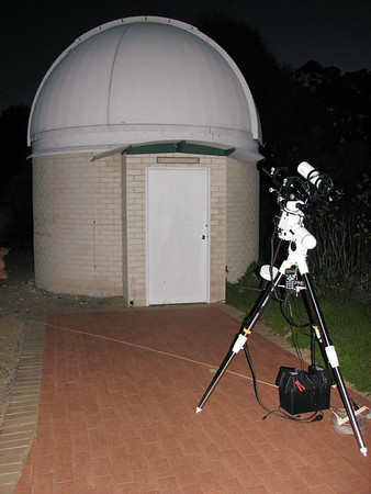 """Setup for Lunar Eclipse at Perth Observatory 10/10/2011  My gear is setup in front ot the public viewing """"Millennium Dome"""" which houses a 16"""" Meade LX200.  Telescope - Apogee OrthoStar LOMO 80/480 with Hotech SCA Field Flattener, Hutech IDAS LPS-P2 filter, Canon 400D DSLR, Ambient ~22C. Mount - Skywatcher NEQ6 Pro. Guidescope - Orion ShortTube 80 with no Guider but Orion Flip Mirror for visual observation"""