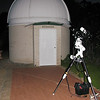 "Setup for Lunar Eclipse at Perth Observatory 10/10/2011<br /> <br /> My gear is setup in front ot the public viewing ""Millennium Dome"" which houses a 16"" Meade LX200.<br /> <br /> Telescope - Apogee OrthoStar LOMO 80/480 with Hotech SCA Field Flattener, Hutech IDAS LPS-P2 filter, Canon 400D DSLR, Ambient ~22C. Mount - Skywatcher NEQ6 Pro. Guidescope - Orion ShortTube 80 with no Guider but Orion Flip Mirror for visual observation"