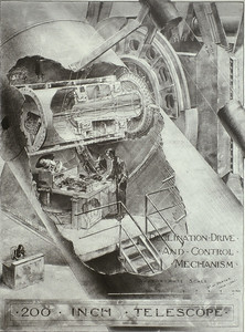 20, This is a Russell drawing showing the declination drive mechanism in the west yoke arm.  The 14 ½ foot diameter drive gear is seen in the upper right of the drawing.