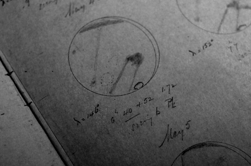 Observation notes of Mars by Percival Lowell (PL) himself using the famous 26-inch Clark telescope.