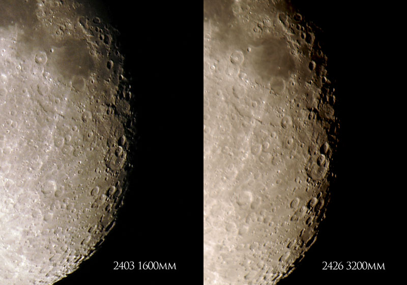 A comparison between using one 2x teleconverter (1600mm) and two 2x teleconverters (3200mm) on my 800mm f5.6 lens.  The 1600mm photo has been scaled to match the 3200mm photo.