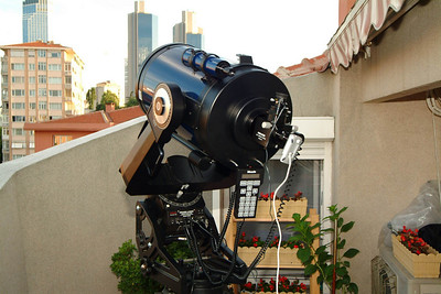 "Old equipment. Meade LX200 12"" f/10 on Superwedge. (shown with Meade flipmirror and Philips webcam)  (bought in 1996)"