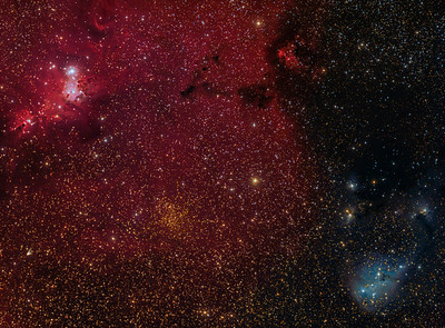 """Trumpler 5 golden cluster with the Cone and Christmas Tree and IC2169...and """"not""""  a comet."""