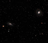 NGC 1055 galaxy (left) and M77 galaxy (right). LRGB Lum 12x10m 1x1, RGB each 6x10m 1x1. RGB taken Dec 5, Lum taken Dec 19, 2012 (half moon). Taken with TEC 140 @ f7 and ML 8300 camera with Baader filters and Tak NJP mount Temma2. Lynn Hilborn, WhistleStop Obhs, Grafton Ontario.
