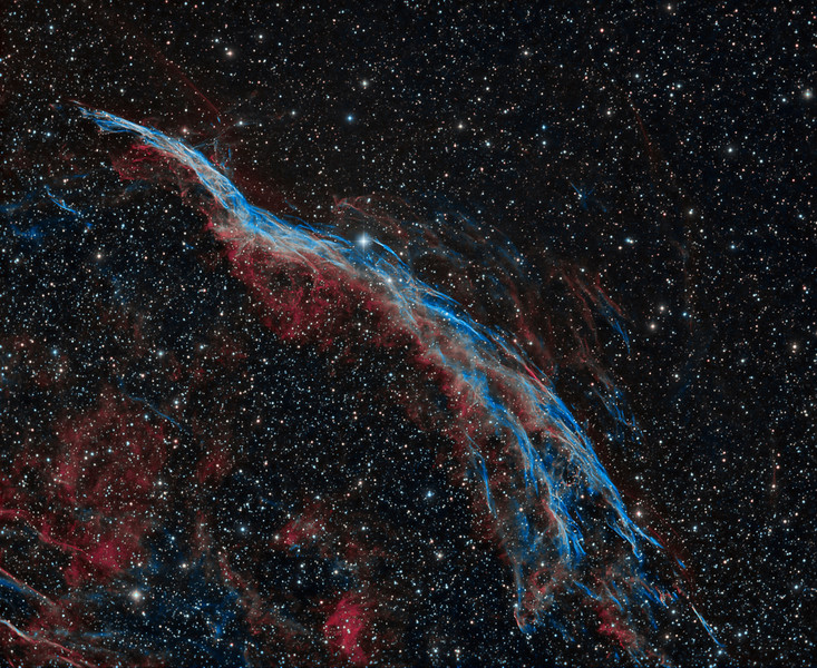 Witch's Broom Nebula  NGC 6960<br /> Ha 6x15m 1x1, OIII 6x15m 1x1 imaged with TEC 140 @f5.3 and ML 8300 camera.<br /> Imaged by Lynn Hilborn, WhistleStop Obs, Grafton, Ontario  August 3, 2013<br /> ***Published in Astronomy Magazine, March 2014<br /> Ten thousand years ago, before the dawn of recorded human history, a new light must suddenly have appeared in <br /> the night sky and faded after a few weeks. Today we know this light was an exploding star and record the <br /> colorful expanding cloud as the Veil Nebula. Pictured above is the west end of the Veil Nebula known <br /> technically as NGC 6960 but less formally as the Witch's Broom Nebula. The expanding debris cloud gains its <br /> colors by sweeping up and exciting existing nearby gas. The supernova remnant lies about 1400 light-years away <br /> towards the constellation of Cygnus. This Witch's Broom actually spans over three times the angular size of the <br /> full Moon. The bright star 52 Cygni is visible with the unaided eye from a dark location but unrelated to the <br /> ancient supernova. Text from APOD, Astronomy Photo of the Day.