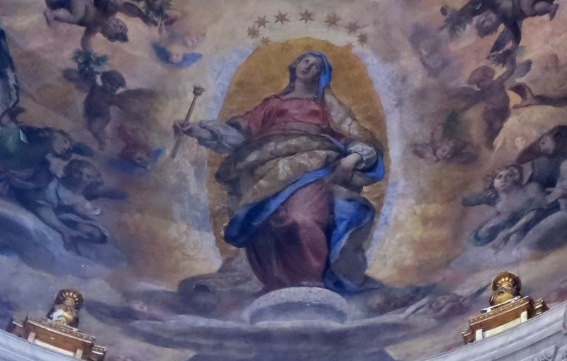 What was the first telescope image for the masses ? (no pun intended) <br /> In the Basilica of Santa Maria Maggiore, in Rome, there is a fresco of the Virgin Mary standing on a pock-marked moon as seen through Galileo's telescope and painted by Lodovico Cigoli in 1611.<br /> Cigoli. a friend of Galileo, was the first to paint a telescope-sighted moon in the visual arts....the first telescope-imaged APOD ( Astronomy Painting Of the Day).<br /> Photo by Lynn Hilborn, September 30, 2012