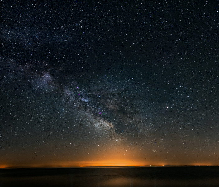 Milky Way over Lake Ontario...3 panel panorama. Canon 6d at ISO 3200, Tamaron 28-75mm lens @ f2.8, 25 seconds each frame.<br /> Taken by Lynn Hilborn, Grafton, Ontario on June 22, 2014.<br /> Looking south to Rochester NY.