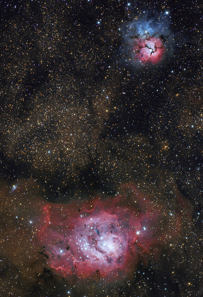 Lagoon and Trifid Nebula...with asteroid (40)Harmonia