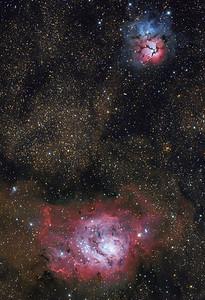 Lagoon and Trifid Nebula...with asteroid (40)Harmonia