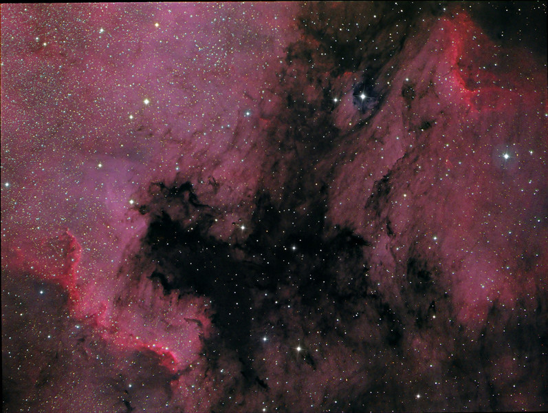 North American nebula and the Pelican nebula HaRGB Ha 16x900s, RGB 4x300s each. NP101is @f4.3, ML8300 at -35C<br /> Taken by Lynn Hilborn, WhistleStop Obs, Nov,2009