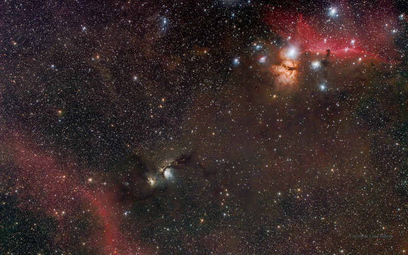Horse Head to M78 to Barnard's Loop. Taken by Lynn Hilborn, WhistleStop Obs,Grafton,Ontario on March 11, 2015.<br /> Teleskop Service Star 71 f4.9 telescope and modified Canon 6d  29 exposures, each 4 minutes , 3200 ISO.<br /> Guided on a Takahashi NJP mount.