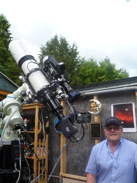 Lynn Hilborn in the WhistleStop Observatory. TEC 140 telescope mounted on a Takahashi NJP Temma 2 mount with Finger Lakes Instruments ML8300 camera and CFW-2-7 filter wheel.  June 2011.