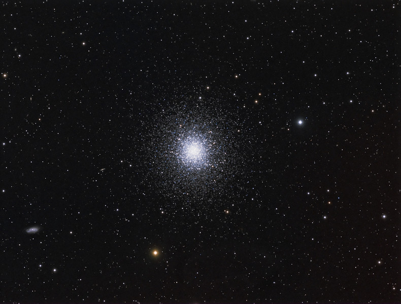M13 Globular Cluster   10x4m Lum bin 1x1, 5x5m RGB bin 2x2. TEC 140@f7 and ML8300 camera. Taken by Lynn Hilborn,WhistleStop Obs, Grafton, Ontario. June 2 and 3, 2011.