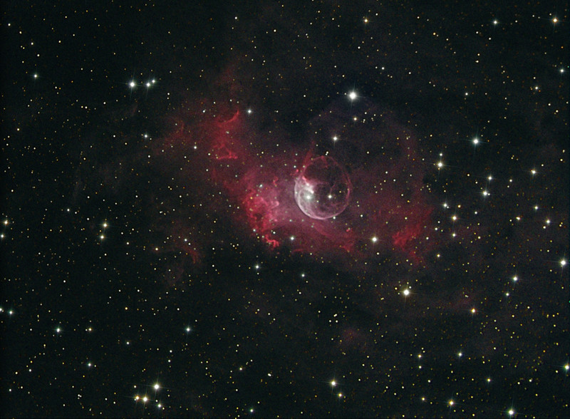 Bubble nebula (reprocessed in Images Plus)....2 hours Ha (8x15m subs), 1 hour RGB (10mx2 each RGB). Just collimated my C9.25 and added a f6.3 reducer and crossed my fingers. Camera is a FLI ML8300 at -35C. Taken by Lynn Hilborn at WhistleStop Obs, Grafton, On...October 2009