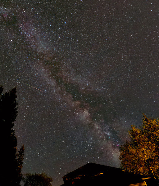 Meteor over house ( and 3 planes).  Canon 6d (modified), single 30 second exposure, Samyang 14mm lens @f2.8, 3200 ISO.<br /> Image taken by Lynn Hilborn, Grafton, Ontario, May 24,2014 at 2:27am.
