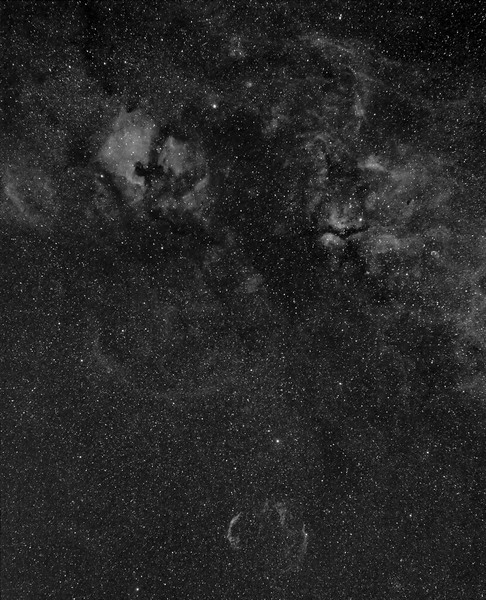 Constellation Cygnus with Hydrogen Alpha filter (12nm) on EOS camera ( Canon 60D modded) in wide angle with 50mm lens at f4 and 1000 ISO.<br /> 18 x10m for total 3 hours of exposure. Taken by Lynn Hilborn, WhistleStop Obs, June 30, 2012. The lens was $99, 'nifty fifty' Canon f1.8