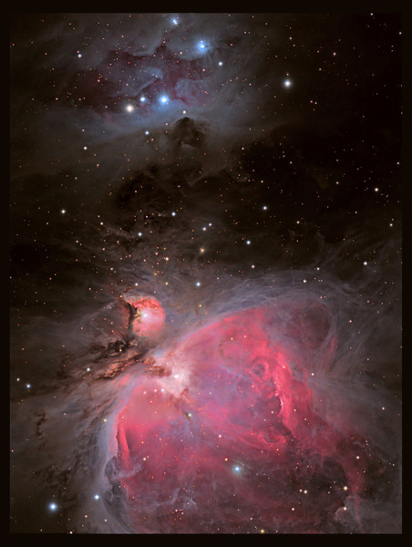 The Running Man nebula and M42 'star factory' in Orion.<br /> LHaRGB with TEC140 Af7 and ML8300 camera. Taken by Lynn Hilborn, WhistleStop Observatory, Grafton,Ontario...Feb9 and11, 2012.<br /> Sub exposures ranged from 10 seconds to 20 minutes in order to capture the full dynamic range.<br /> <br /> A recurring theme of destruction, upheaval, birth and rebirth occurs within the spiral arms of galaxies. HII regions within the spiral arms of galaxies serve as celestial recycling stations where the birth of new stars completes a great cycle, creating and recycling matter, ultimately enriching and replenishing the interstellar medium with heavier elements. These heavier elements may potentially become the building blocks of terrestrial planets and ultimately living organisms. The Orion Nebula is arguably the greatest of all HII clouds visible from our location within the Milky Way. With a gaseous repository of 10,000 suns, and illuminated by a cluster of hot young stars, the clouds of M42 glow with fantastic colors and shapes, giving us a birds eye view of one of the greatest star forming nurseries in our part of the galaxy.<br /> <br /> The radiance and beauty of Orion transcends dry astronomical facts, however the history as well as the physics and chemistry of the Orion Nebula is a tale worthy of telling that helps us understand the nebula's great significance. M42 is a complex cloud of glowing gas, mostly hydrogen but also helium, carbon, nitrogen, and oxygen in decreasing amounts. Although a true astronomical icon, M42 is essentially a bright condensation of the Orion A Molecular Cloud which extends far beyond the Orion Nebula. Although it spans 40 light years, the ionized gas of M42 is an exceptionally thin blister only 0.08 light years thick on the surface of the larger and optically invisible molecular cloud.<br /> <br /> Directly in front of M42 is a small grouping of hot O and B type stars known as the trapezium which shine between 5th and 8th magnitude. This grouping represents the 4 brightest members of an extended cluster of several thousand young stars many of which lie unseen within the opaque gas and dust. The bright trapezium grouping represents the cluster core where stars are packed so tight they exceed the stellar concentration of our suns vicinity some 20,000 times. Stars within the trapezium are separated by only 0.12 light years whereas our sun's nearest neighbor is 4 light years away. Text was written by Robert Gendler, and is used with his kind permission.