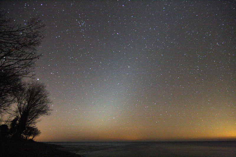 Zodiacal Light...false dawn. On my shore front at WhistleStop Obs, Grafton,Ontario. North shore of Lake Ontario...skyglow to the right is Rochester NY.