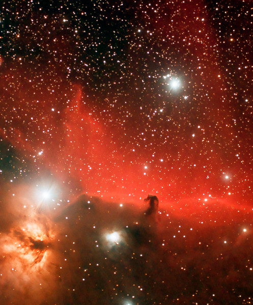10x10minutes Horsehead & Flame nebula, TeleVue 76, SBIG ST2000XCM,<br /> EQ6 mount...Nov 05/08 Lynn Hilborn Whistle Stop Observatory 44N78W.<br /> First image published...SkyNews magazine.