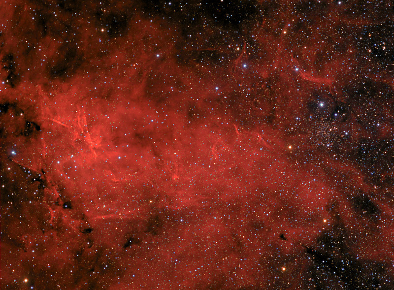 "IC 1311 in Cygnus<br /> The field in this image is from the constellation of Cygnus. IC 1311 is the designation for a star cluster with nebulosity. The main core of the cluster is a small dense knot of stars toward the right of center in this image. The general region is rich with hydrogen emission as evidenced by the red nebulosity. The cluster is located approximately 4,000 light years from Earth. North is up in this image.<br /> Image center is located approximately - Equatorial 2000: RA: 20h 12m 54s Dec: +41°12'18""<br /> Taken June 30, 2012 and Aug 24, 2012 by Lynn Hilborn<br /> TEC 140 @ f7<br /> ML 8300 -30<br /> WhistleStop Obs, Grafton<br /> <br /> RGB 9x5m 2x2<br /> Ha 1x1 11x20m"