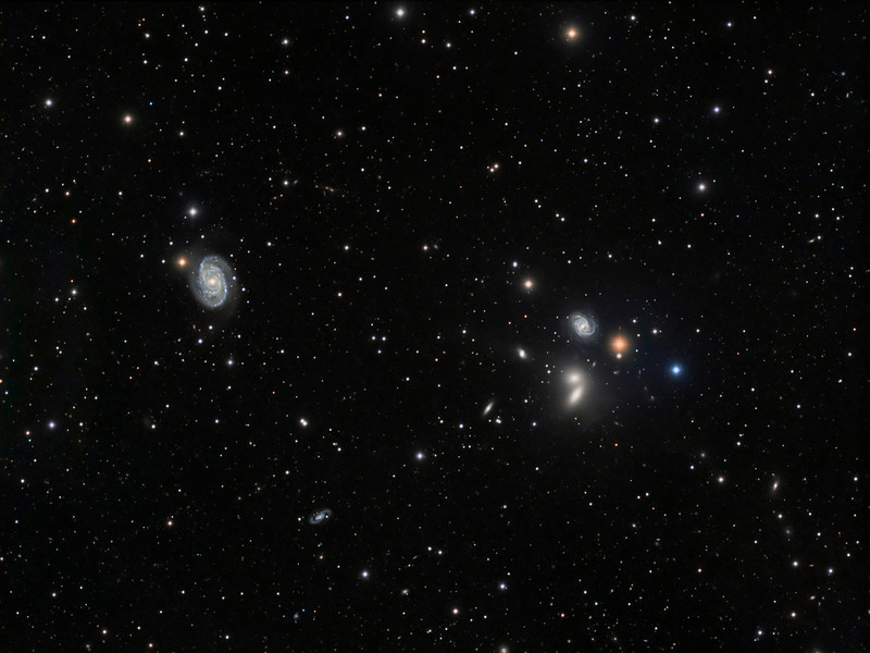 Hickson Galaxy Group 68 and NGC 5371, in Canes Venatici.  NGC 5371 is a spiral galaxy seen face-on. It is classified as an Sbc barred spiral galaxy and located about 100 million light years from Earth. Together with Hickson Galaxy Group 68, NGC 5371 makes up the Big Lick Galaxy Group.  6 hours of exposure. <br /> ***** Editors' Choice, Sky and Telescope magazine photo gallery.<br /> Taken by Lynn Hilborn, WhistleStop Obs, Grafton, Ontario on May 15 2012.<br /> Lum 1x1 19x10m, RGB each 2x2 12x5m. TEC 140 @f7 and FLI ML8300 camera with Baader filters